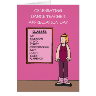 Dance teacher appreciation day March 1st Card