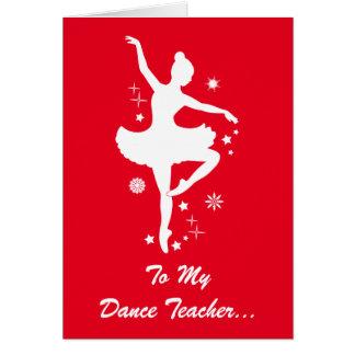 Dance Teacher Happy Holidays Ballerina Silhouette Card