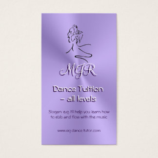 Dance Tutor, Monogram, Dancers Logo, lilac Business Card