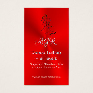 Dance Tutor, Monogram, Dancers Logo on Red Business Card