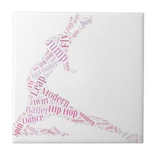 Dance Word Cloud Pink Ceramic Tiles