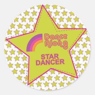 dancealong_star_dancer_stickersheet classic round sticker