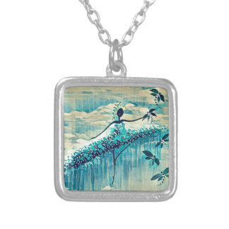 DANCER AND DRAGONFLIES 10 SILVER PLATED NECKLACE