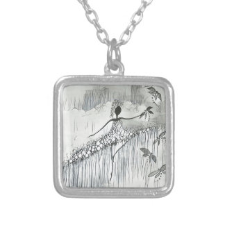 DANCER AND DRAGONFLIES 11 SILVER PLATED NECKLACE