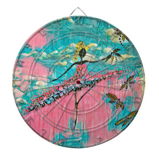 DANCER AND DRAGONFLIES 15 DARTBOARD WITH DARTS