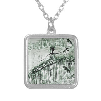 DANCER AND DRAGONFLIES 16 SILVER PLATED NECKLACE