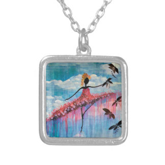 DANCER AND DRAGONFLIES 18 SILVER PLATED NECKLACE