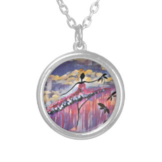 DANCER AND DRAGONFLIES 20 SILVER PLATED NECKLACE