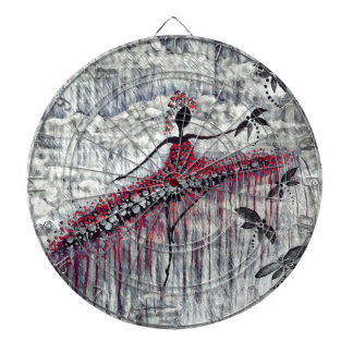 DANCER AND DRAGONFLIES 21 DARTBOARD WITH DARTS