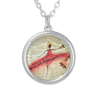 DANCER AND DRAGONFLIES 23 SILVER PLATED NECKLACE