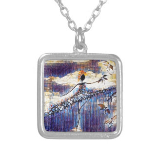 DANCER AND DRAGONFLIES 25 SILVER PLATED NECKLACE