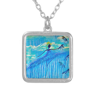 DANCER AND DRAGONFLIES 29 SILVER PLATED NECKLACE