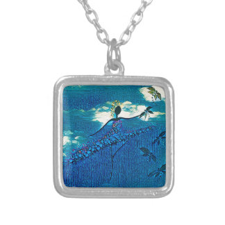 DANCER AND DRAGONFLIES 32 SILVER PLATED NECKLACE