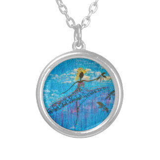 DANCER AND DRAGONFLIES 34 SILVER PLATED NECKLACE