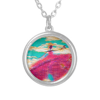 DANCER AND DRAGONFLIES 35 SILVER PLATED NECKLACE