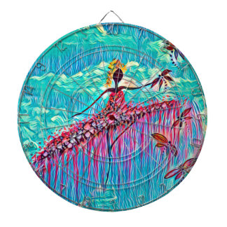 DANCER AND DRAGONFLIES 3 DARTBOARD WITH DARTS
