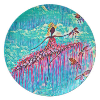 DANCER AND DRAGONFLIES 3 PLATE