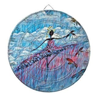 DANCER AND DRAGONFLIES 8 DARTBOARD WITH DARTS