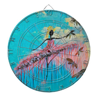 DANCER AND DRAGONFLIES 9 DARTBOARD WITH DARTS