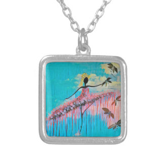 DANCER AND DRAGONFLIES 9 SILVER PLATED NECKLACE