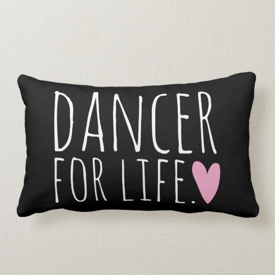 Dancer For Life Black with Heart Lumbar Pillow