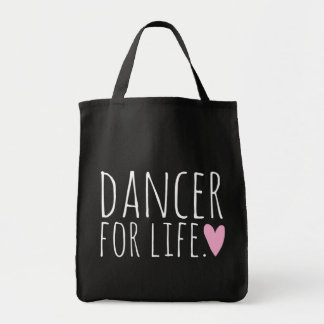 Dancer For Life Black with Heart Tote Bag