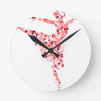 dancer hearts round clock