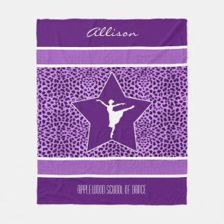 Dancer in Purple Cheetah Print with Monogram Fleece Blanket