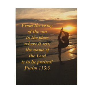 Dancer in Silhouette Beach at Sunset Scripture Wood Wall Art