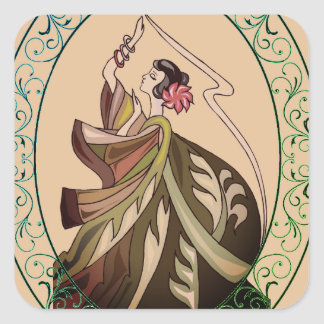 Dancer In Vintage Dress Square Sticker