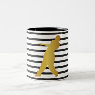 Dancer Moden Rap Black White Stripes Chic Two-Tone Coffee Mug