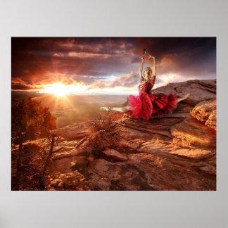 Dancer on a Rock in the Desert Sunset Poster