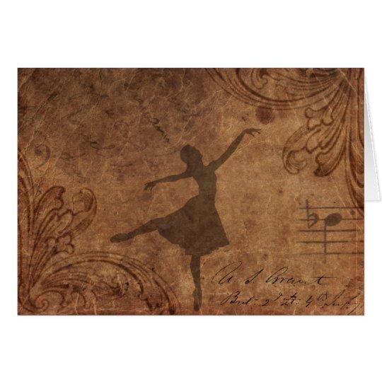 dancer on old paper card