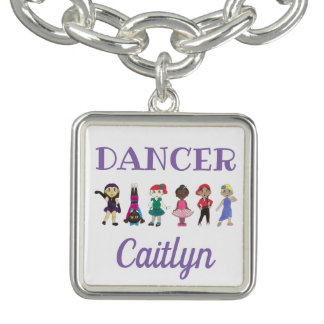 DANCER Personalized Girl Ballet Tap Jazz Ballerina Charm Bracelets
