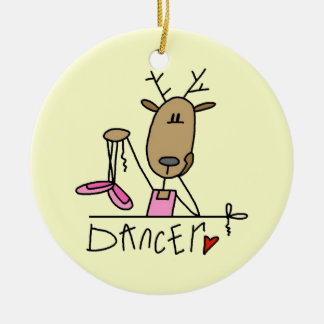 Dancer Reindeer T-shirts and Gifts Round Ceramic Ornament