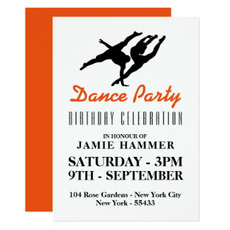 Dancer Silhouette Birthday Party Card