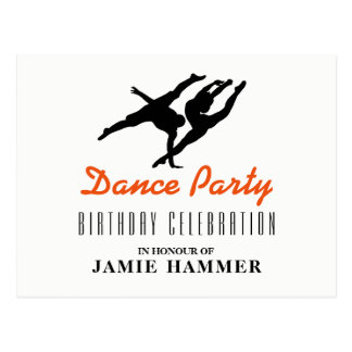 Dancer Silhouette Birthday Party Invitation Postcard
