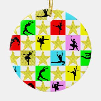 DANCER SUPER STAR CHRISTMAS DESIGN ROUND CERAMIC ORNAMENT