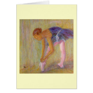 Dancer Tying Her Ballet Shoes, Card