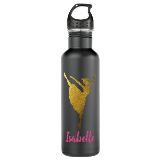 Dancer Water Bottle Gift for Dancer Gold Ballerina