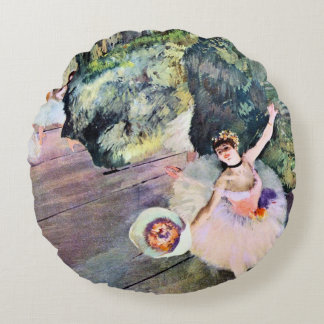 Dancer with a Bouquet of Flowers by Edgar Degas Round Pillow