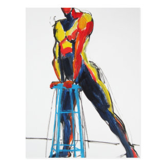 Dancer with Drafting Stool postcard