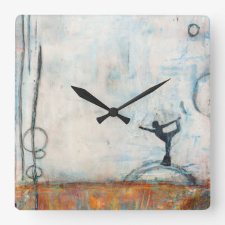 Dancer Yoga Girl Square Clock