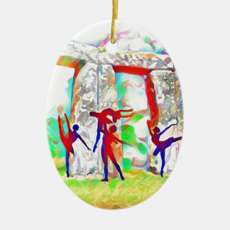 Dancers at Stonehenge Ceramic Oval Ornament