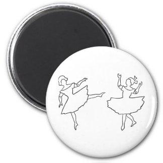 Dancers Cutout Illustration 2 Inch Round Magnet