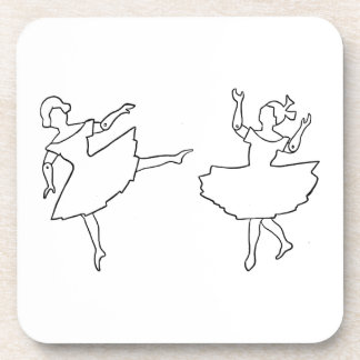Dancers Cutout Illustration Beverage Coaster