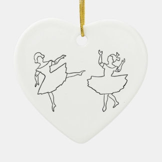 Dancers Cutout Illustration Ceramic Heart Ornament