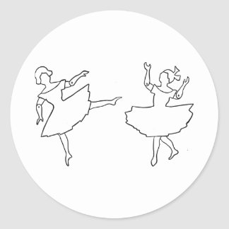 Dancers Cutout Illustration Classic Round Sticker