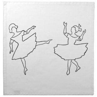 Dancers Cutout Illustration Printed Napkins