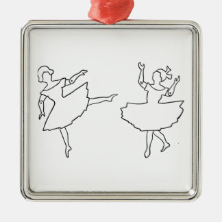 Dancers Cutout Illustration Silver-Colored Square Ornament